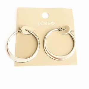 "J. CREW silver classic 1"" hoops NWT 🌟"